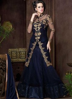 Navy Blue Embroidery Work Net Designer Fancy Lehenga Style Long Anarkali Suit http://www.angelnx.com/Salwar-Kameez/Anarkali-Suits