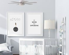 "Nursery themes for baby boy from Sunny And Pretty. Simple and cute space nursery décor for baby boy. Alphabet and number printable wall art for a perfect space nursery. Set of 4 space themed nursery prints featuring a rocket ship, stars, and many planets. ""Never stop exploring"" quote outer space décor nursery wall art. 🖤 Get excited about decorating for your little one! #sunnyandpretty Outer Space Nursery, Space Themed Nursery, Baby Boy Nursery Decor, Boys Room Decor, Nursery Room Decor, Baby Boy Rooms, Baby Boy Nurseries, Nursery Art, Star Nursery"