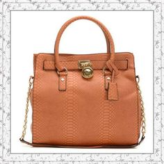 MICHAEL Michael Kors Large Hamilton Python-embossed Tote Luggage Golden only $72