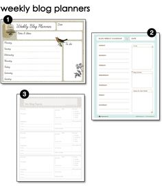 Free Printable Weekly Blog Planners (and other free printables)
