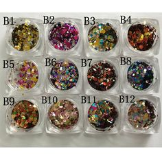12 Nail Art Glitter ROUND Shapes Confetti Sequins Acrylic Tips UV Gel B Style Sale By 12jar/set