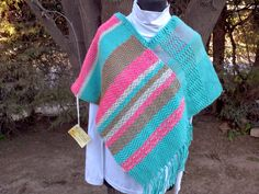 Lola Telares Blanket, Ideas Para, Crochet Blankets, Fabrics, Sweater Vests, Ponchos, Feminine Fashion, Chopsticks, Women