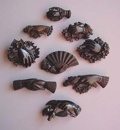 Victorian vulcanite hand pins: these are an element in American traditional…