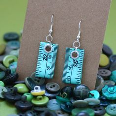 Tape Measure Earrings in Green by undoneclothing on Etsy, $8.00