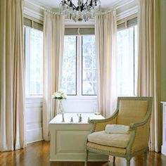 Bow Window Treatments And How To Choose The Best : Bow Window Curtains Ideas. Bow Window Treatments, Bathroom Window Treatments, Window Coverings, Diy Bay Window Curtains, Blinds Curtains, Hang Curtains, Double Curtains, Burlap Curtains, Bedroom Curtains