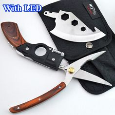 With LED ! 5 in 1 Portable Multi function Survival Hand Tools Axe   Blade   Saw   Scissors  Wooden Handle