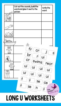 These long vowel worksheets are just what you need for you Kindergarten or First Grade students! These no prep worksheets are perfect for Literacy lessons, Literacy centers or word work. Are you teaching your class about long U sounds - long ew, long ue, long ui and long u with magic e? These printables will be easy to implement and engaging during your spelling or reading lessons. These ready to go worksheets are accessible to all students and are easy to implement. Phonics Sounds, Vowel Sounds, Long Vowel Worksheets, Long Vowels, Reading Lessons, Word Pictures, Word Work, Literacy Centers, First Grade