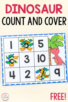 This dinosaur count and cover math activity would be perfect for your preschool or kindergarten math centers. It's a fun counting activity for your dinosaur theme. Dinosaurs Preschool, Preschool Literacy, Free Preschool, Kindergarten Math, Free Math, Kids Activities At Home, Printable Activities For Kids, Preschool Printables, Classroom Activities