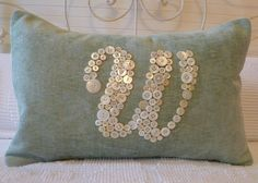 Blue Chenille Letter 'W' Pillow Monogrammed in Vintage Buttons -- by Letter…