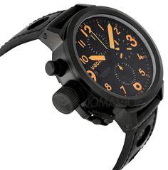 U-Boat Flight Deck CAB Automatic Chronograph Black Leather Mens Watch 6254