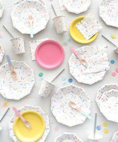 """- 8 Plates - Paper - 7"""" Wide - Iridescent Foil Details"""