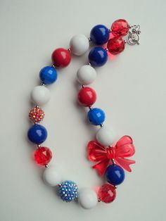 For Miranda. Red White & Blue Chunky Necklace.. Chunky Bead Necklace..Bubblegum Necklace..Kids Necklace..Toddler Necklace.. Kids Jewelry..Red Necklace