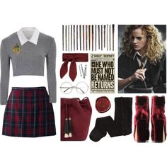 Harry Potter: Hermione by glittergirlxy on Polyvore featuring Mode, Glamorous, Y's by Yohji Yamamoto, Lands' End, H&M, Jimmy Choo, Loeffler Randall, Chloé, BOBBY and Fall