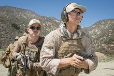 AZUSA, Calif. (Aug. 4, 2015) Hospital Corpsman 2nd Class James Carelas, assigned to Naval Medical Center San Diego, and Mass Communication Specialist 2nd Class Dan Rolston, assigned to Fleet Combat Camera Pacific (FCCP), practice two-man tactics during FCCP's Summer Quick Shot 2015 combined joint field training exercise in the Angeles National Forest near Azusa, Calif.