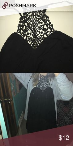 BLACK STRAPLESS DRESS WITH LACE HALTER never worn Tobi Dresses Strapless