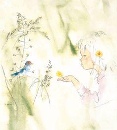 「草むらの小鳥と少女」