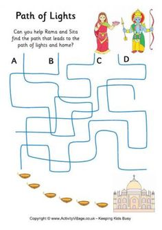 Can you help Rama and Sita find the path that leads to the path of lights, and home? A fun printable Diwali puzzle for younger children. Diwali Party, Diwali Diy, Happy Diwali, Diwali Story, Diwali Activities, Brownie Guides, Diy Diwali Decorations, Sensory Toys, Stories For Kids