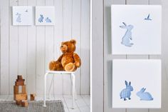 Bunny Nursery Art, Baby Boy Nursery Decor, Nursery Art on Etsy, $45.00