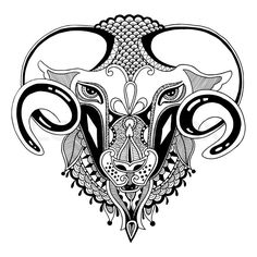 Stock vector of 'head goat symbol of 2015 year, decorative drawing in ethnic style, vector illustration'