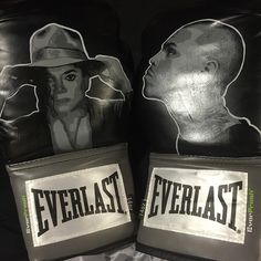 """Gift to Chris Brown by fans. Michael Jackson and Breezy Everlast Boxing Gloves. """"Love my fans. Got me these awesome gloves!"""" ~ February 2015."""