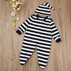 332fc759c6a9 Amazon.com  Coerni Premium Cute Cotton Infant Baby Footed Romper Jumpsuit+Hat   Clothing