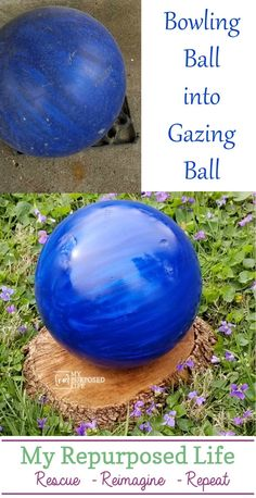gazing ball made from a bowling ball? I'm going to do this with my old friend! How to make a diy gazing ball using an old bowling ball. Bring it out, shine it up and put it in your garden! Bowling Ball Crafts, Bowling Ball Garden, Bowling Ball Art, Garden Balls, Garden Spheres, Mosaic Bowling Ball, Garden Totems, Garden Crafts, Garden Projects