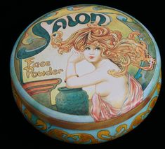 Vintage Art Noveau Style Round Tin Box by SycamoreVintage