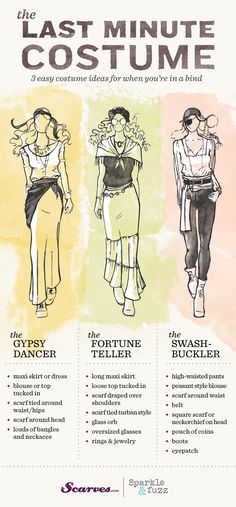 Easy Halloween costume, pirate, gypsy, fortune teller, psychic! Excellent DIY guide for modern and pretty costumes for women :)