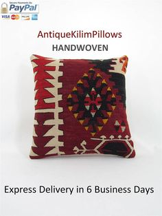 kilim rug pillow decorative pillows boho couch pillow cover throw pillow bedding pillow bedroom decor pillows by AntiqueKilimPillows  Find all AntiqueKilimPillows: https://www.etsy.com/shop/antiquekilimpillows?  1- Material: hand-woven 100% Wool Turkish kilim 2- Size: 16x16 inches (40x40 cm)  3- Pillow insert is not included. Back is cotton fabric with hidden zipper.  4- Kilim pillow covers are designed from vintage handwoven Turkish Anatolian kilims. They have been washed...