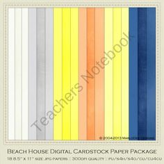 Beach House Themed A4 Digital Cardstock Papers product from MarloDeeDesigns on TeachersNotebook.com