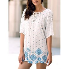 12.38$  Watch here - http://dit2v.justgood.pw/go.php?t=180342901 - Simple Style Jewel Collar Flower Print Hollow Out T-Shirt For Women