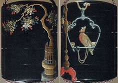 Case (Inrô) with Flowering Cherry Tree (obverse); Parrot in Ornamental Swing (reverse)  Period: Edo period (1615–1868) Date: 18th–19th century Culture: Japan Medium: Lacquer, roiro, gold, red and silver hiramakie, aogai, pewter inlay; Interior: nashiji and fundame