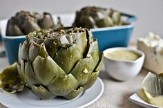Herb Gorgonzola Crusted Artichokes with Parmesan Hollandaise {How Sweet Eats} Baked Artichoke, Artichoke Recipes, Artichoke Hearts, Veggie Recipes, Healthy Recipes, Savoury Recipes, Healthy Eats, Yummy Recipes, Dinner Recipes