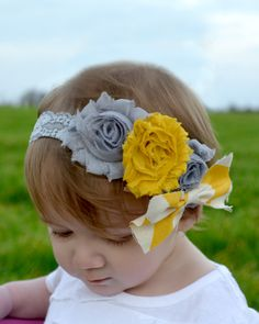 gray and yellow shabby chevron headband - girls - headband - baby - chevron - children. $11.50, via Etsy.