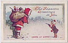 Santa Claus Being Held Up 1910 Postcard