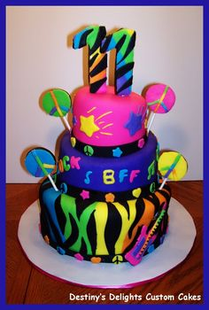 Neon Doodle Cake I made this cake to match the party design Neon Doodle. It was a fun cake to make! Cakes To Make, How To Make Cake, Neon Birthday Cakes, Birthday Cake Girls, Birthday Ideas, Crazy Cakes, Fondant Cakes, Cupcake Cakes, Neon Cakes