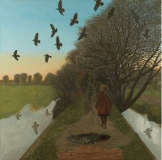 David Inshaw - Fine Art Society Paintings I Love, Nature Paintings, Landscape Paintings, South Country, October Country, Strange Art, Weird Art, Blackbirds, Africa Art