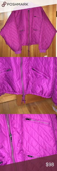 NWT Free People jacket NWT Quilted, Drawstring , 100% Polyester Lightly-Lined Jacket...Magenta, Size Small...imported by Urban Outfitters Free People Jackets & Coats