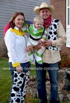 Homemade Toy Story 2 Family Costume: This year we dressed up as characters from Toy Story 2.  Jessie and Woody had pull strings on their back. This Homemade Toy Story 2 Family Costume was