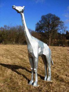 Galvanised steel African Animal & Wildlife #sculpture by #sculptor Tim Roper titled: 'Giraffe' £2500 #art