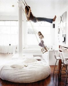 Slide on stairs AND these swings would make the greatest house ever.
