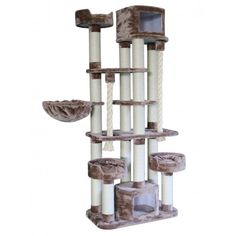 Giant cat tree tower standing almost 7 feet tall and featuring multiple stories for cats to explore. It's like a deluxe apartment complex for your kitties. Giant Cat, Cat Perch, Wood Cat, Cat Towers, Cubby Houses, Round Basket, Wild Bird Food, Unique Cats, Cat Condo