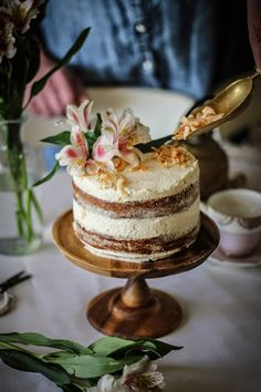 hummingbird cake with cinnamon and honey cream cheese frosting.