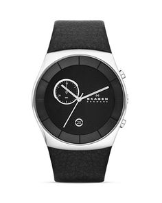 Skagen Havene Black Leather Strap Watch, 42mm, $175