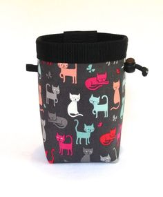 rock climbing chalk bag  cats in blue pink and gray by knoxmtnbags