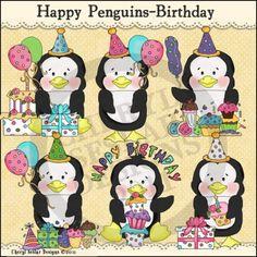 Happy Penguins Birthday 1 - Clip Art by Cheryl Seslar