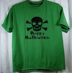 Boys L Large Green Hanes Shirt Skull & Crossbones Happy Halloween #Hanes #Holiday