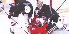 12/31/14 NHL Winter Classic Practice Day: Hawks goofing off