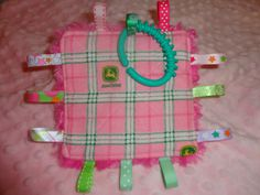 Baby Girl Taggy Toy Crinkle Toy  5 inch square by Sassydoodlebaby, $6.99