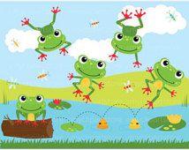 Frog on a log Clip Art / Digital Clipart - Instant Download